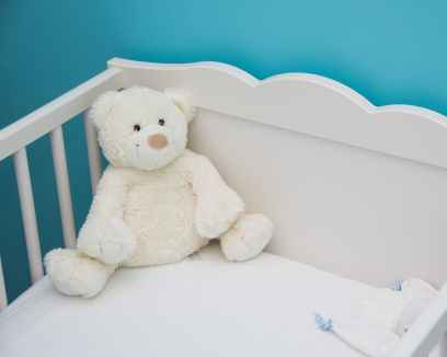 baby bed blue blur